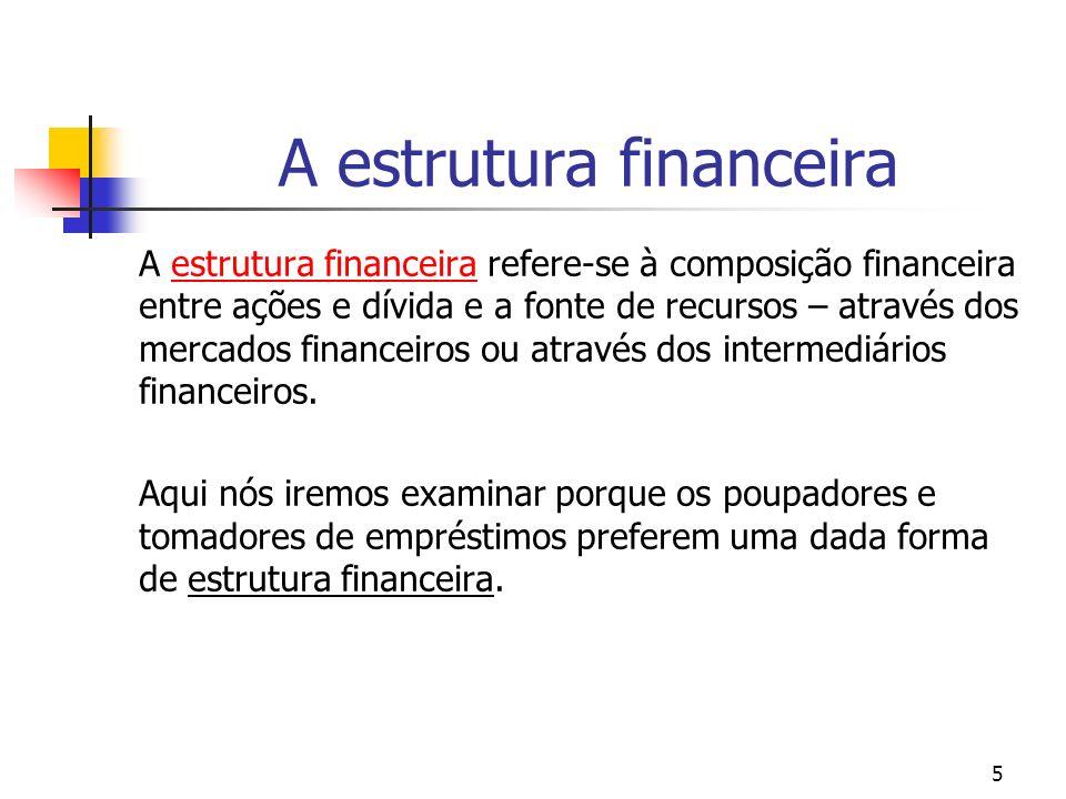 5 A estrutura financeira A estrutura financeira refere-se à composição financeira entre ações e dívida e a fonte de recursos – através dos mercados fi