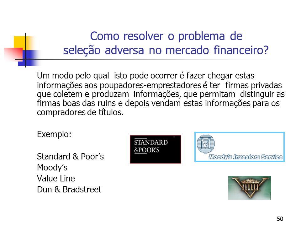 50 Como resolver o problema de seleção adversa no mercado financeiro? Um modo pelo qual isto pode ocorrer é fazer chegar estas informações aos poupado