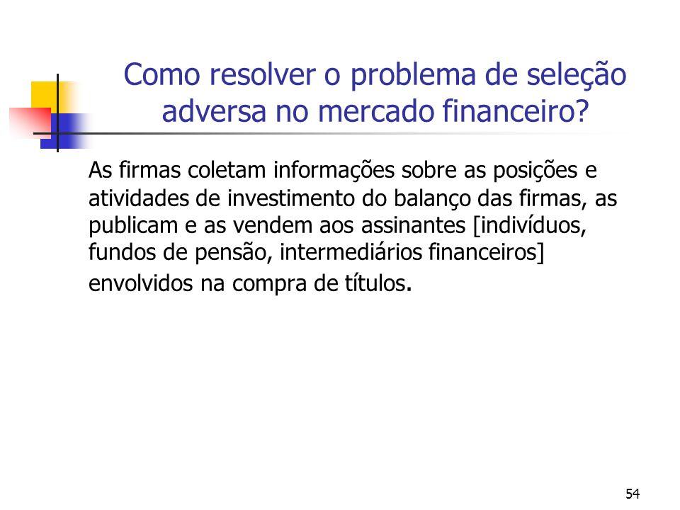 54 Como resolver o problema de seleção adversa no mercado financeiro? As firmas coletam informações sobre as posições e atividades de investimento do