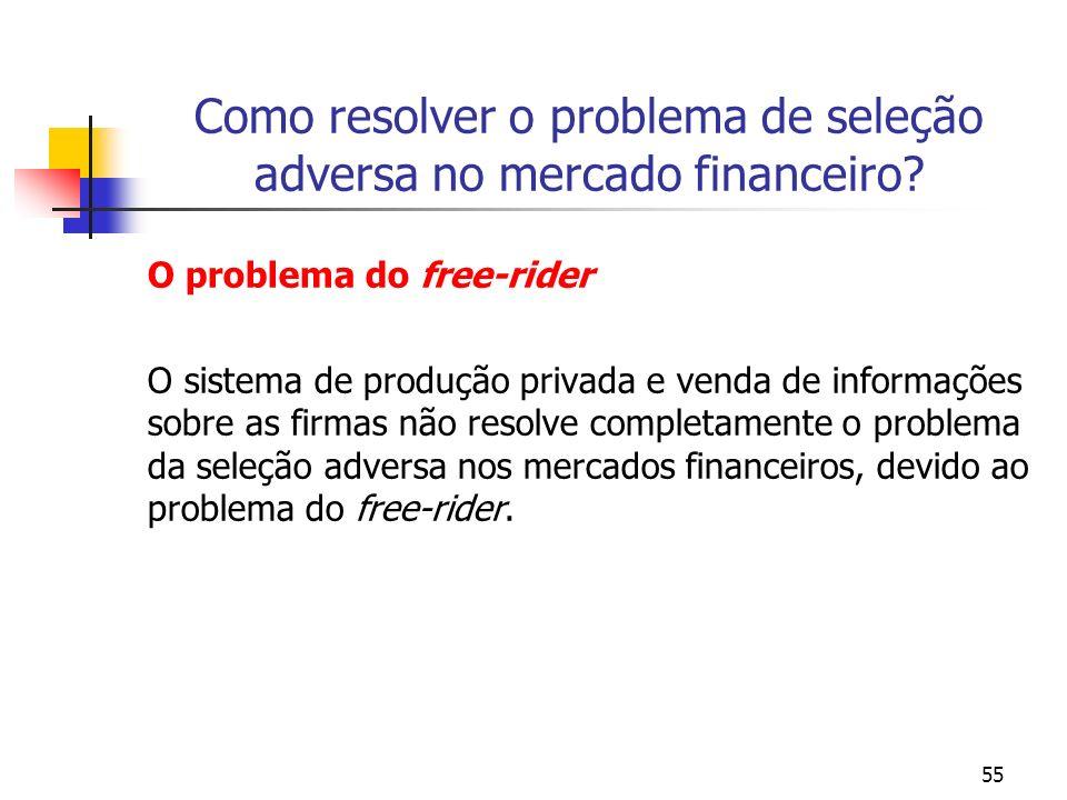 55 Como resolver o problema de seleção adversa no mercado financeiro? O problema do free-rider O sistema de produção privada e venda de informações so