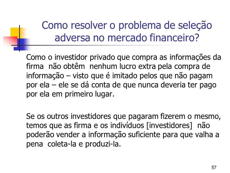 57 Como resolver o problema de seleção adversa no mercado financeiro? Como o investidor privado que compra as informações da firma não obtêm nenhum lu
