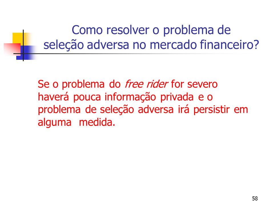 58 Como resolver o problema de seleção adversa no mercado financeiro? Se o problema do free rider for severo haverá pouca informação privada e o probl