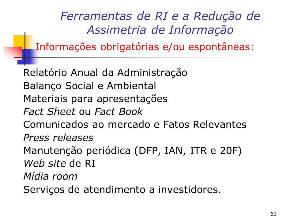 62 Informações obrigatórias e/ou espontâneas: Relatório Anual da Administração Balanço Social e Ambiental Materiais para apresentações Fact Sheet ou F