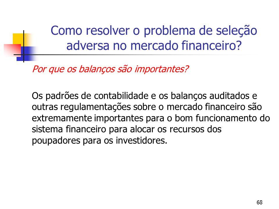 68 Como resolver o problema de seleção adversa no mercado financeiro? Por que os balanços são importantes? Os padrões de contabilidade e os balanços a