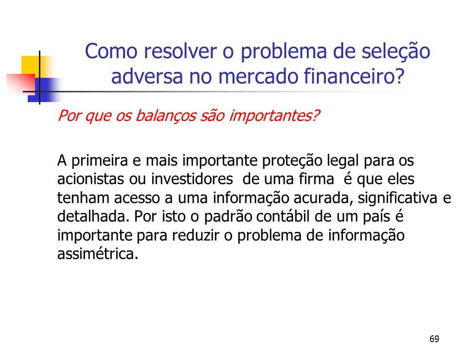 69 Como resolver o problema de seleção adversa no mercado financeiro? Por que os balanços são importantes? A primeira e mais importante proteção legal