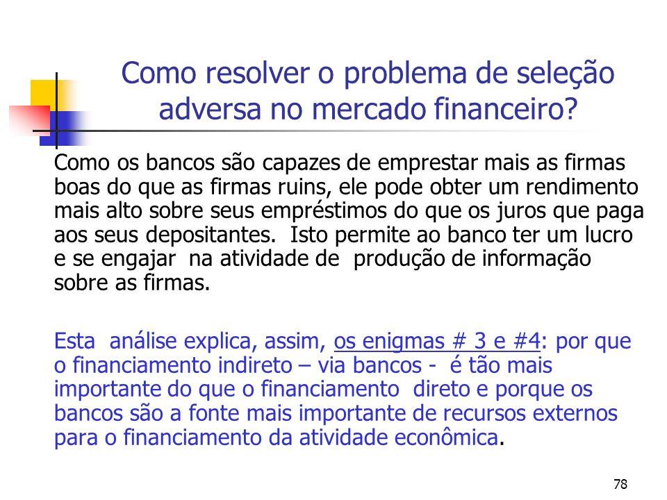 78 Como resolver o problema de seleção adversa no mercado financeiro? Como os bancos são capazes de emprestar mais as firmas boas do que as firmas rui
