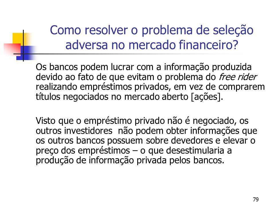 79 Como resolver o problema de seleção adversa no mercado financeiro? Os bancos podem lucrar com a informação produzida devido ao fato de que evitam o