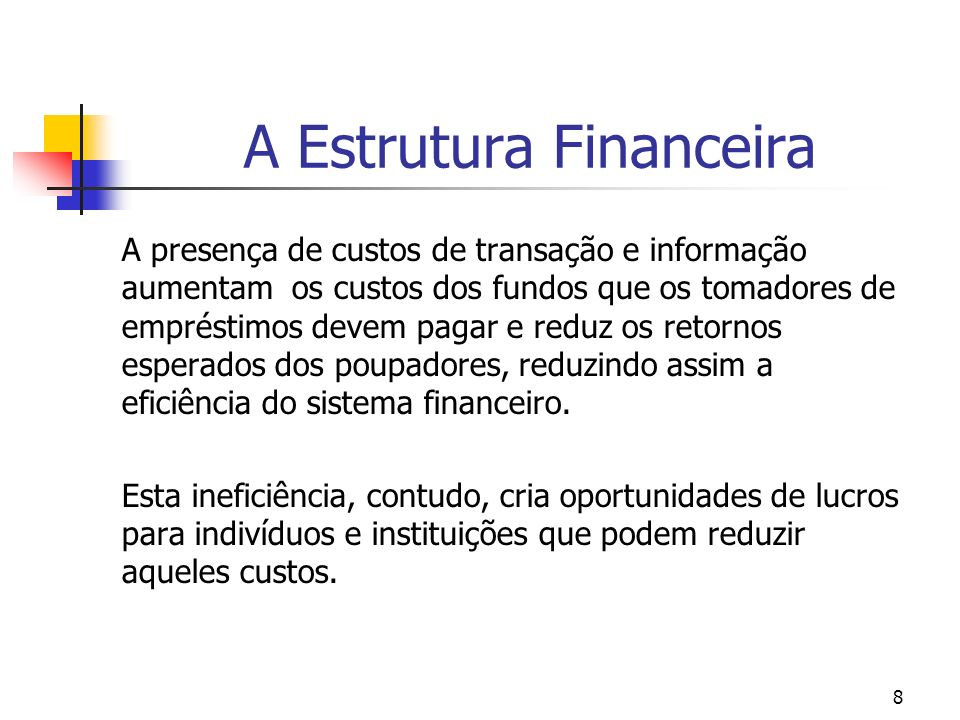 8 A Estrutura Financeira A presença de custos de transação e informação aumentam os custos dos fundos que os tomadores de empréstimos devem pagar e re