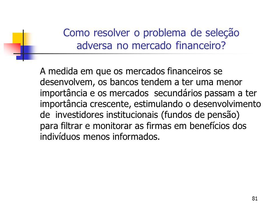 81 Como resolver o problema de seleção adversa no mercado financeiro? A medida em que os mercados financeiros se desenvolvem, os bancos tendem a ter u