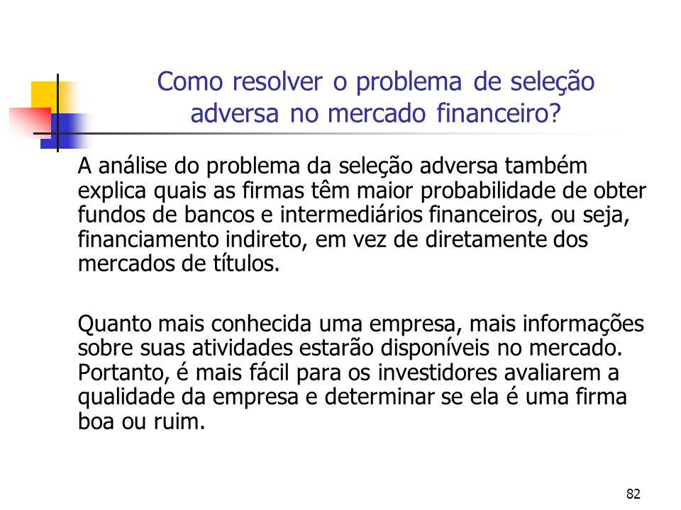 82 Como resolver o problema de seleção adversa no mercado financeiro? A análise do problema da seleção adversa também explica quais as firmas têm maio