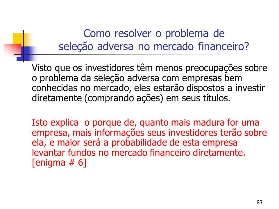 83 Como resolver o problema de seleção adversa no mercado financeiro? Visto que os investidores têm menos preocupações sobre o problema da seleção adv