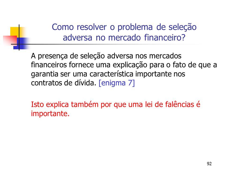 92 Como resolver o problema de seleção adversa no mercado financeiro? A presença de seleção adversa nos mercados financeiros fornece uma explicação pa
