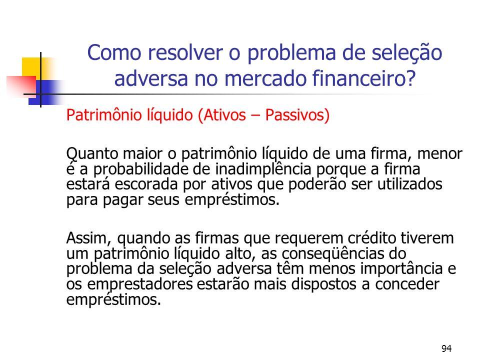 94 Como resolver o problema de seleção adversa no mercado financeiro? Patrimônio líquido (Ativos – Passivos) Quanto maior o patrimônio líquido de uma