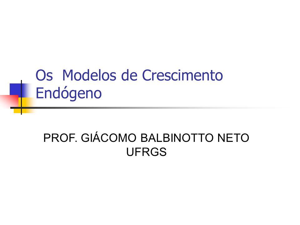 Os Modelos de Crescimento Endógeno PROF. GIÁCOMO BALBINOTTO NETO UFRGS