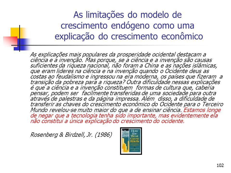 102 As limitações do modelo de crescimento endógeno como uma explicação do crescimento econômico As explicações mais populares da prosperidade ocident