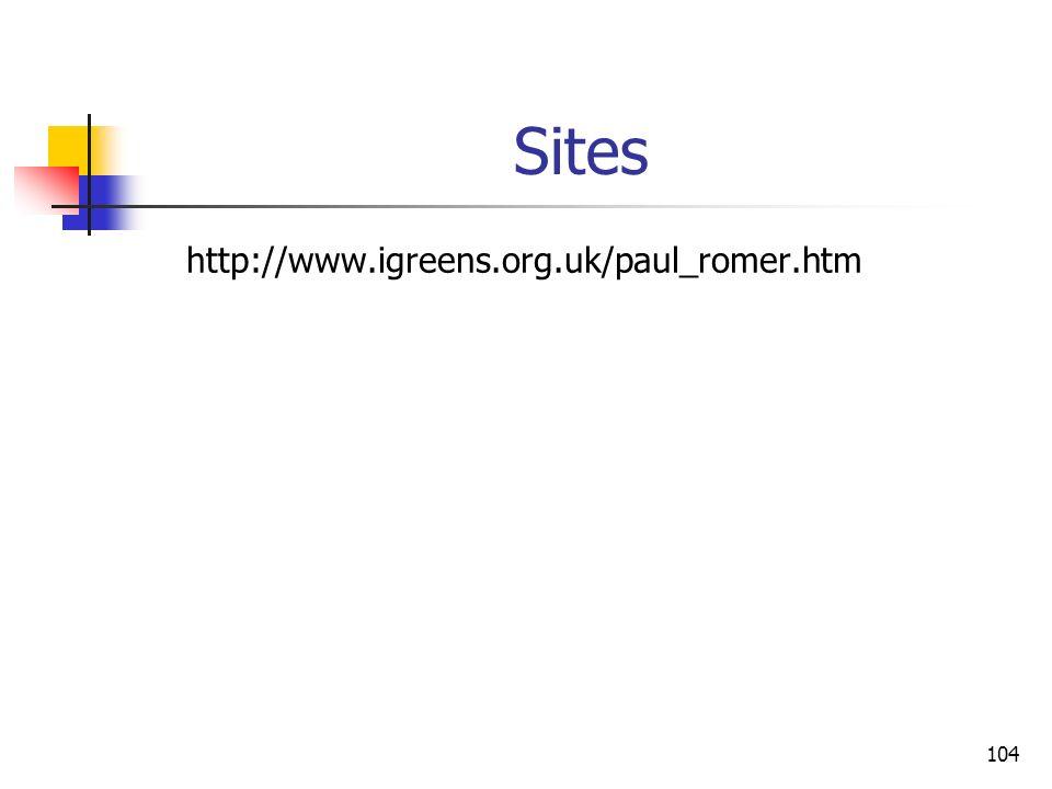 104 Sites http://www.igreens.org.uk/paul_romer.htm
