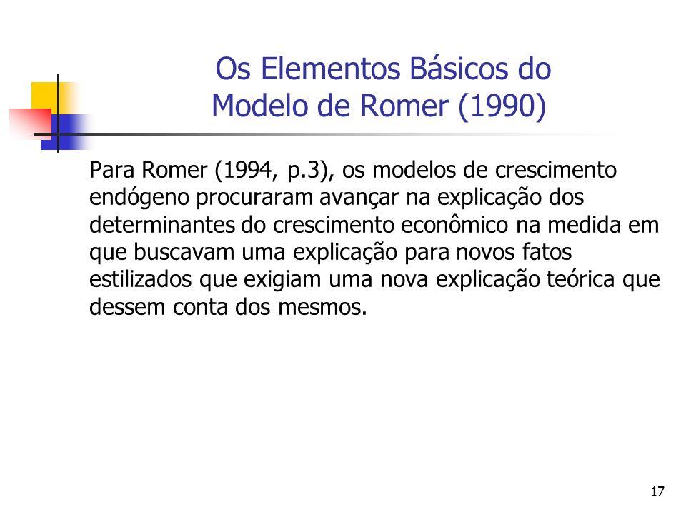 17 Os Elementos Básicos do Modelo de Romer (1990) Para Romer (1994, p.3), os modelos de crescimento endógeno procuraram avançar na explicação dos dete