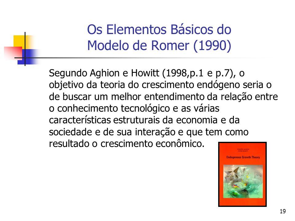 19 Os Elementos Básicos do Modelo de Romer (1990) Segundo Aghion e Howitt (1998,p.1 e p.7), o objetivo da teoria do crescimento endógeno seria o de bu
