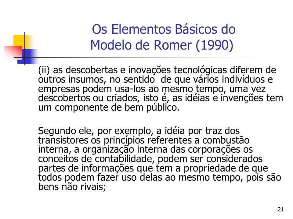 21 Os Elementos Básicos do Modelo de Romer (1990) (ii) as descobertas e inovações tecnológicas diferem de outros insumos, no sentido de que vários ind