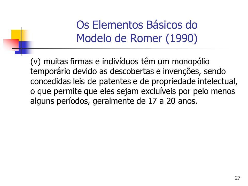 27 Os Elementos Básicos do Modelo de Romer (1990) (v) muitas firmas e indivíduos têm um monopólio temporário devido as descobertas e invenções, sendo