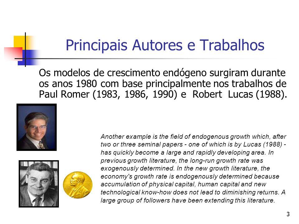 3 Principais Autores e Trabalhos Os modelos de crescimento endógeno surgiram durante os anos 1980 com base principalmente nos trabalhos de Paul Romer