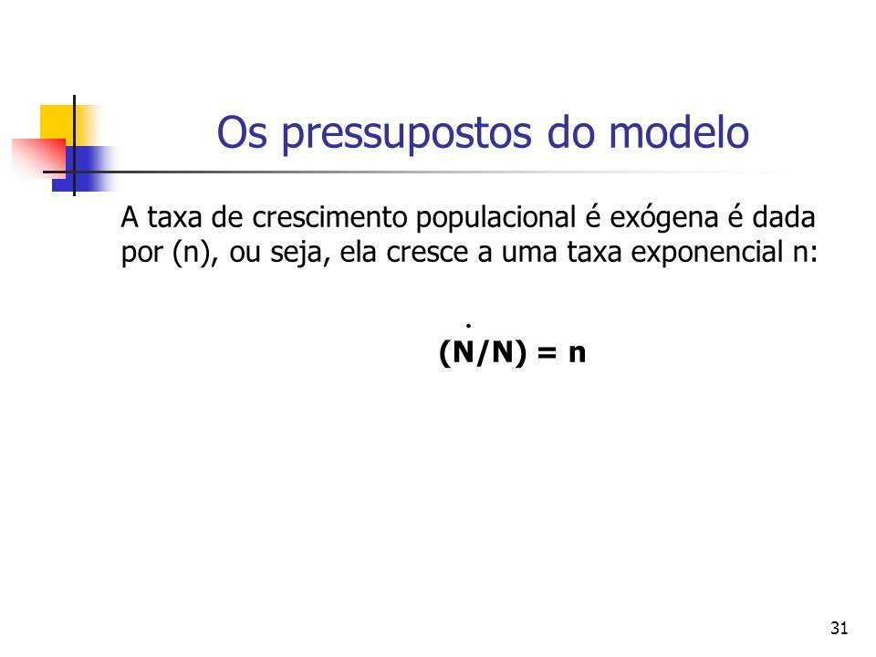 31 Os pressupostos do modelo A taxa de crescimento populacional é exógena é dada por (n), ou seja, ela cresce a uma taxa exponencial n: (N/N) = n