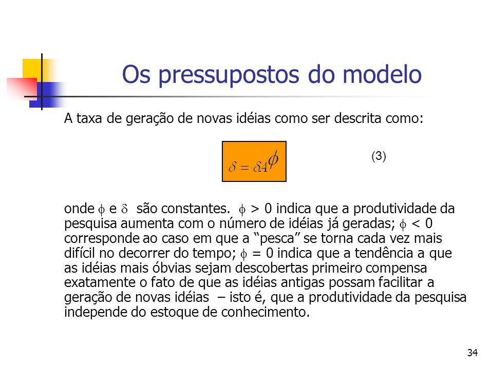 34 Os pressupostos do modelo A taxa de geração de novas idéias como ser descrita como: onde e são constantes. > 0 indica que a produtividade da pesqui