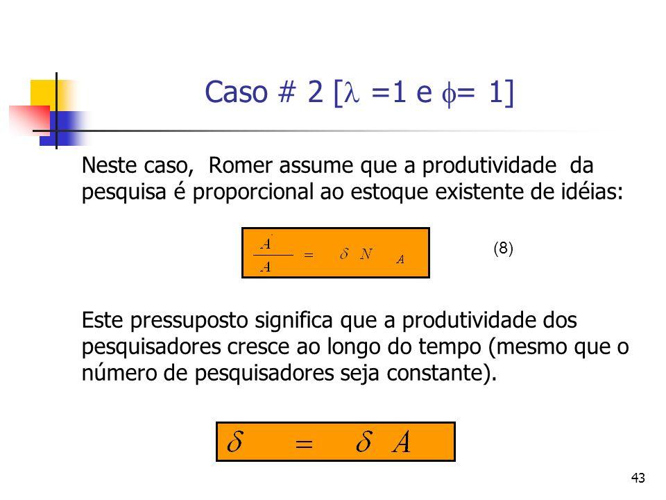 43 Caso # 2 [ =1 e = 1] Neste caso, Romer assume que a produtividade da pesquisa é proporcional ao estoque existente de idéias: Este pressuposto signi