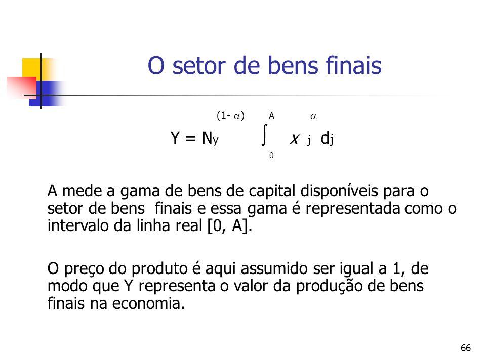 66 (1- ) A Y = N y x j d j 0 A mede a gama de bens de capital disponíveis para o setor de bens finais e essa gama é representada como o intervalo da l