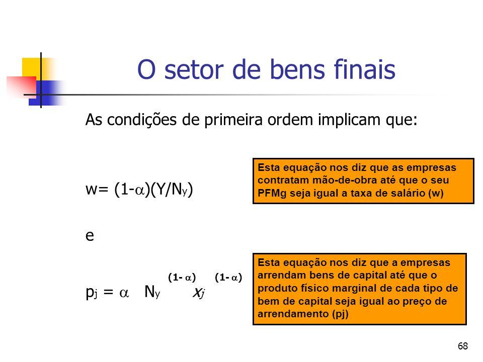 68 As condições de primeira ordem implicam que: w= (1- )(Y/N y ) e (1- ) (1- ) p j = N y x j O setor de bens finais Esta equação nos diz que as empres