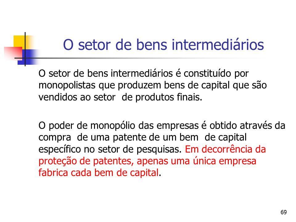 69 O setor de bens intermediários O setor de bens intermediários é constituído por monopolistas que produzem bens de capital que são vendidos ao setor