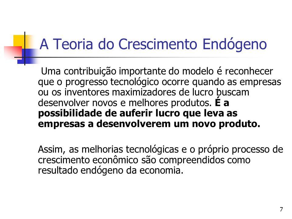 7 A Teoria do Crescimento Endógeno Uma contribuição importante do modelo é reconhecer que o progresso tecnológico ocorre quando as empresas ou os inve
