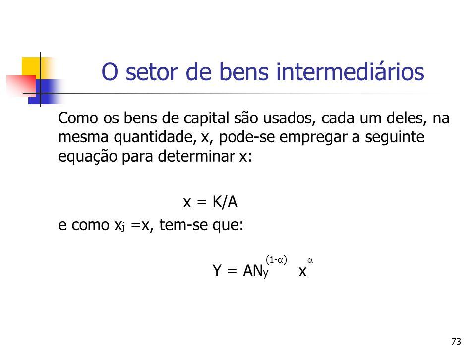 73 O setor de bens intermediários Como os bens de capital são usados, cada um deles, na mesma quantidade, x, pode-se empregar a seguinte equação para