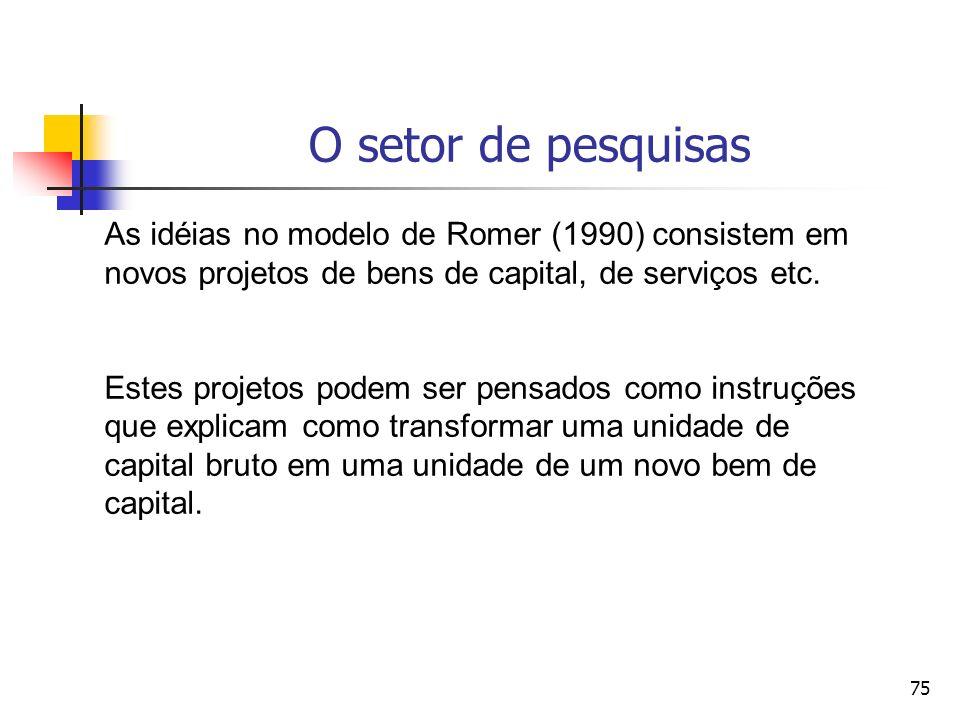75 O setor de pesquisas As idéias no modelo de Romer (1990) consistem em novos projetos de bens de capital, de serviços etc. Estes projetos podem ser