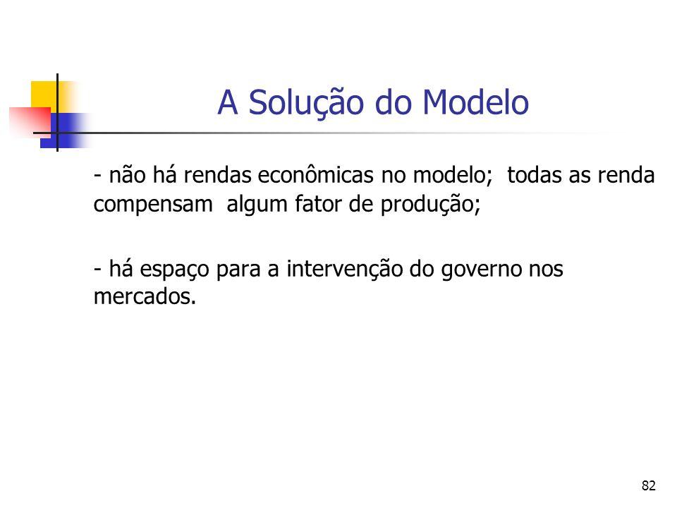 82 A Solução do Modelo - não há rendas econômicas no modelo; todas as renda compensam algum fator de produção; - há espaço para a intervenção do gover