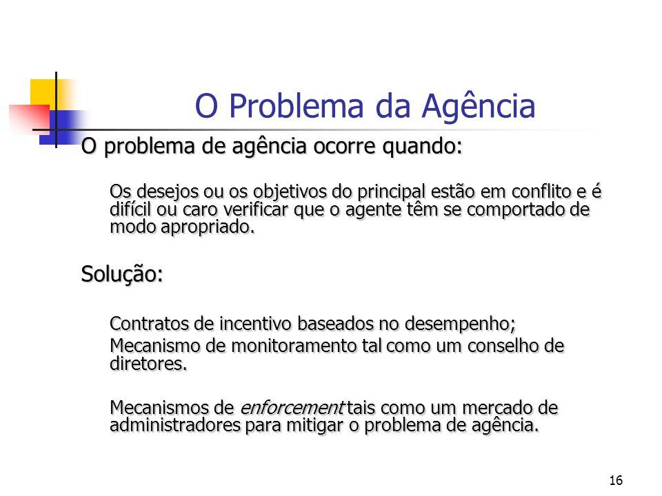 16 O Problema da Agência O problema de agência ocorre quando: Os desejos ou os objetivos do principal estão em conflito e é difícil ou caro verificar que o agente têm se comportado de modo apropriado.