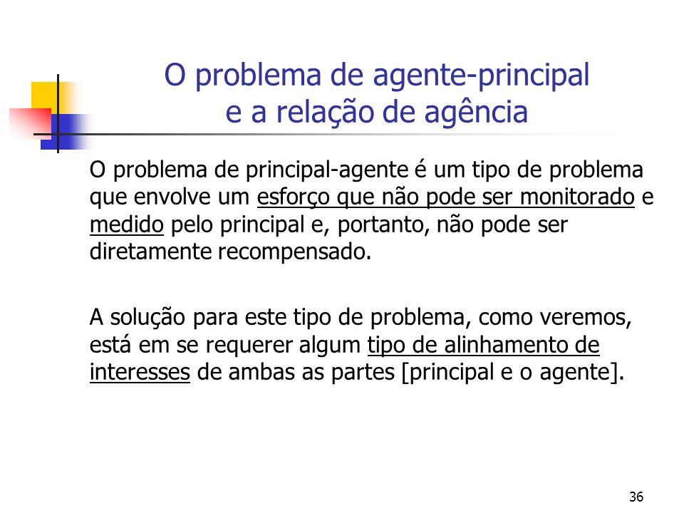36 O problema de agente-principal e a relação de agência O problema de principal-agente é um tipo de problema que envolve um esforço que não pode ser monitorado e medido pelo principal e, portanto, não pode ser diretamente recompensado.
