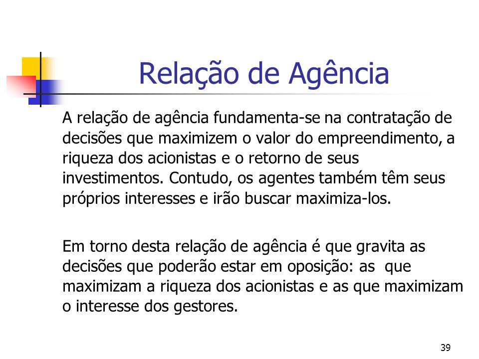 39 Relação de Agência A relação de agência fundamenta-se na contratação de decisões que maximizem o valor do empreendimento, a riqueza dos acionistas e o retorno de seus investimentos.