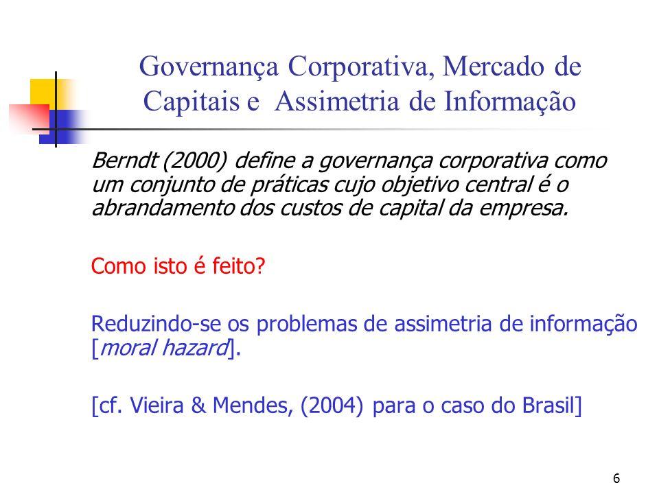 6 Governança Corporativa, Mercado de Capitais e Assimetria de Informação Berndt (2000) define a governança corporativa como um conjunto de práticas cujo objetivo central é o abrandamento dos custos de capital da empresa.