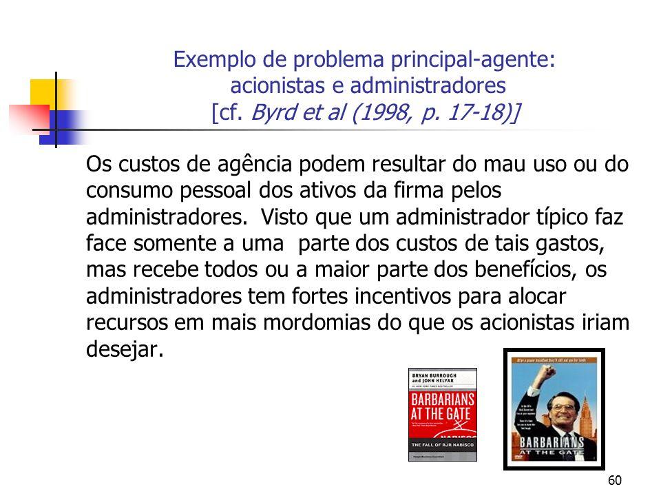 60 Exemplo de problema principal-agente: acionistas e administradores [cf.