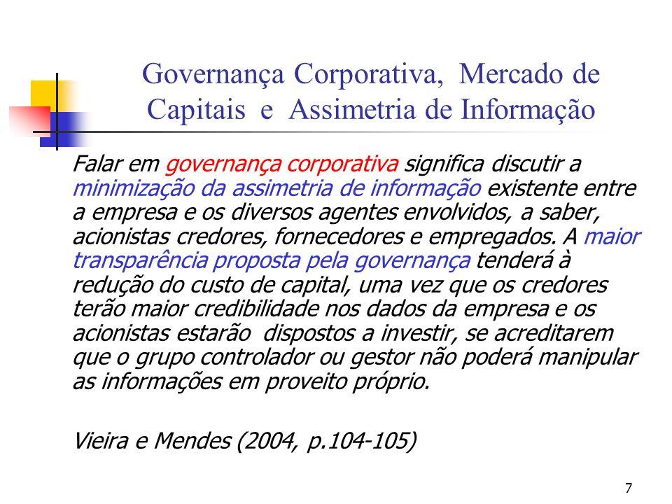 18 Os problemas de Governança Corporativa segundo o paradigma Agente-Principal Os principais (acionistas) devem resolver um problema de seleção adversa: selecionar bons administradores.