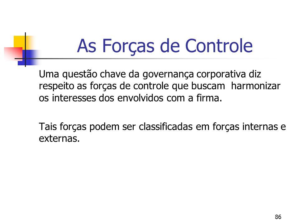 86 As Forças de Controle Uma questão chave da governança corporativa diz respeito as forças de controle que buscam harmonizar os interesses dos envolvidos com a firma.
