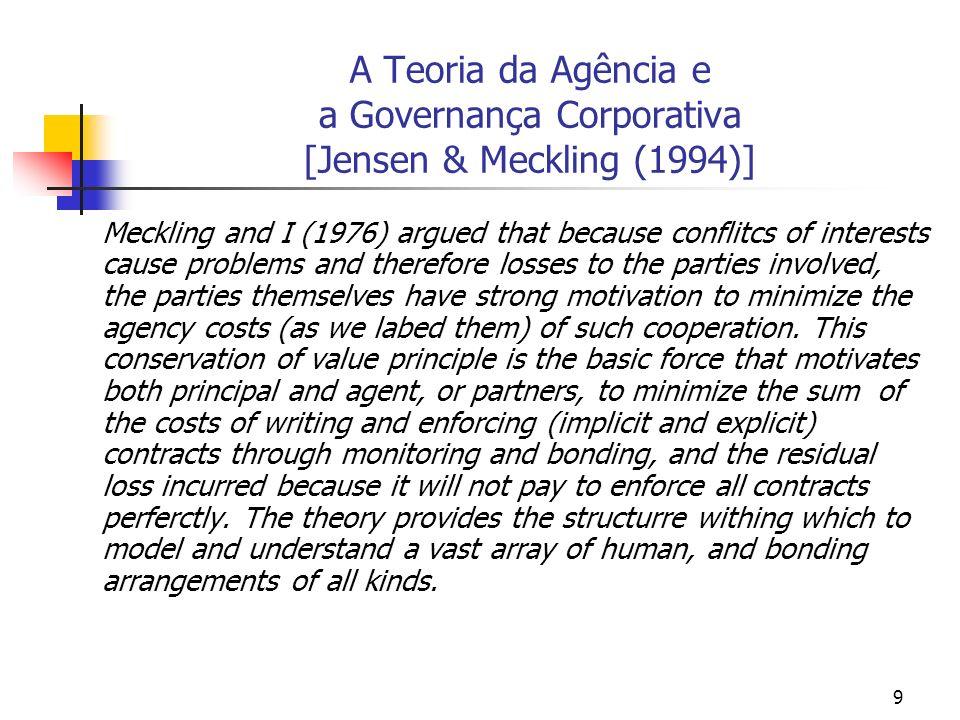 10 A Teoria da Agência e a Governança Corporativa [ Vieira & Mendes (2004, p.