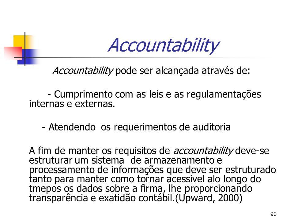 90 Accountability Accountability pode ser alcançada através de: - Cumprimento com as leis e as regulamentações internas e externas.