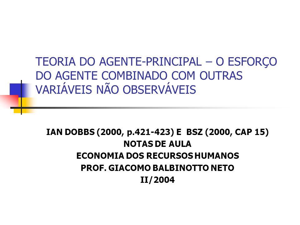 TEORIA DO AGENTE-PRINCIPAL – O ESFORÇO DO AGENTE COMBINADO COM OUTRAS VARIÁVEIS NÃO OBSERVÁVEIS IAN DOBBS (2000, p.421-423) E BSZ (2000, CAP 15) NOTAS