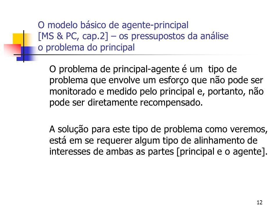 12 O modelo básico de agente-principal [MS & PC, cap.2] – os pressupostos da análise o problema do principal O problema de principal-agente é um tipo