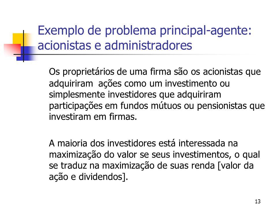 13 Exemplo de problema principal-agente: acionistas e administradores Os proprietários de uma firma são os acionistas que adquiriram ações como um inv