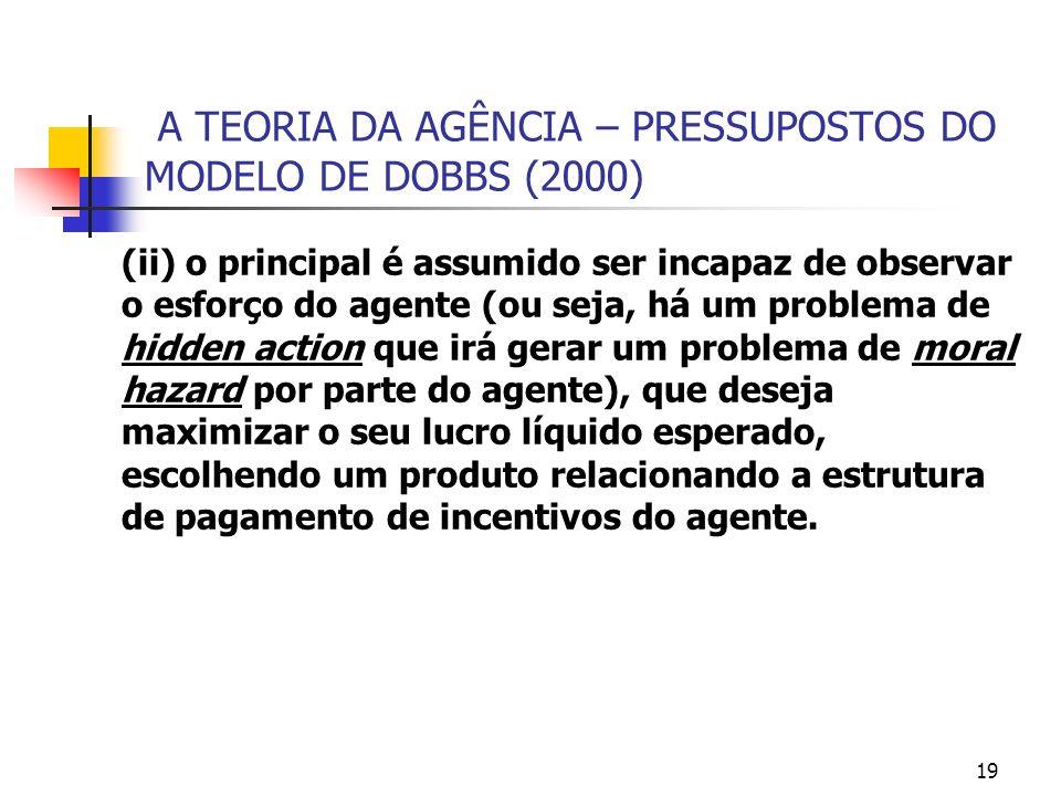 19 A TEORIA DA AGÊNCIA – PRESSUPOSTOS DO MODELO DE DOBBS (2000) (ii) o principal é assumido ser incapaz de observar o esforço do agente (ou seja, há u