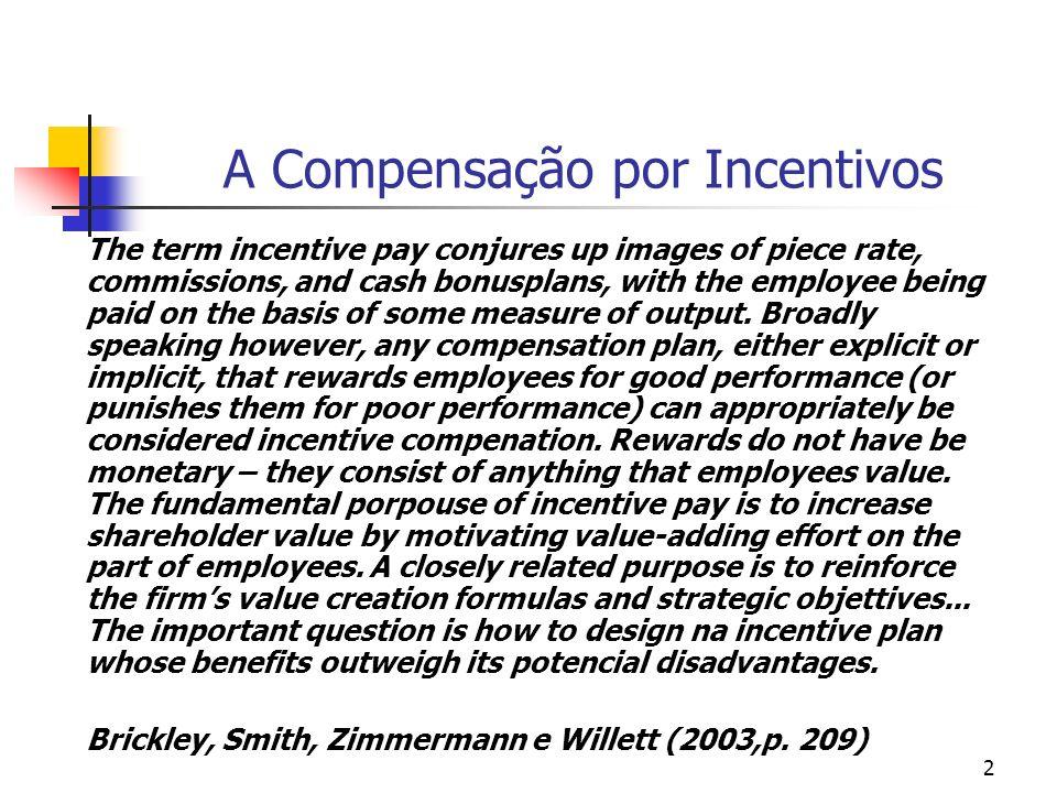 3 A compensação por incentivos Os problemas de incentivo existem porque os conflitos de interesse entre os agentes [empregados] e o principal [empregador].