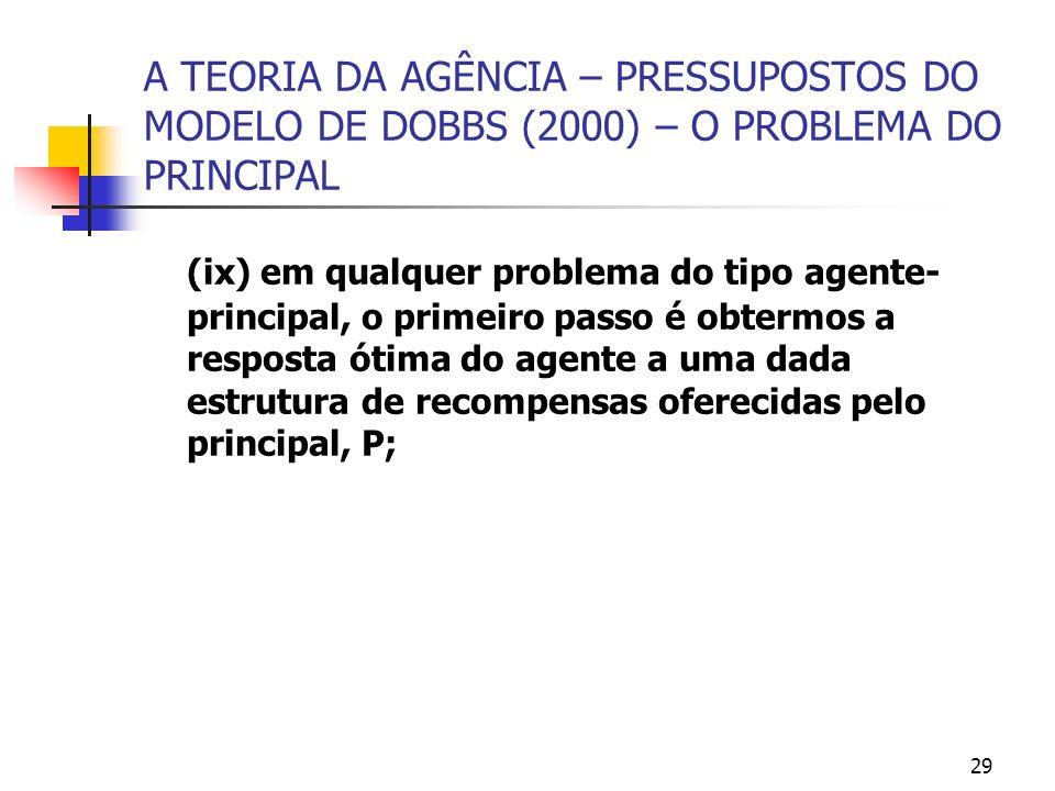29 A TEORIA DA AGÊNCIA – PRESSUPOSTOS DO MODELO DE DOBBS (2000) – O PROBLEMA DO PRINCIPAL (ix) em qualquer problema do tipo agente- principal, o prime